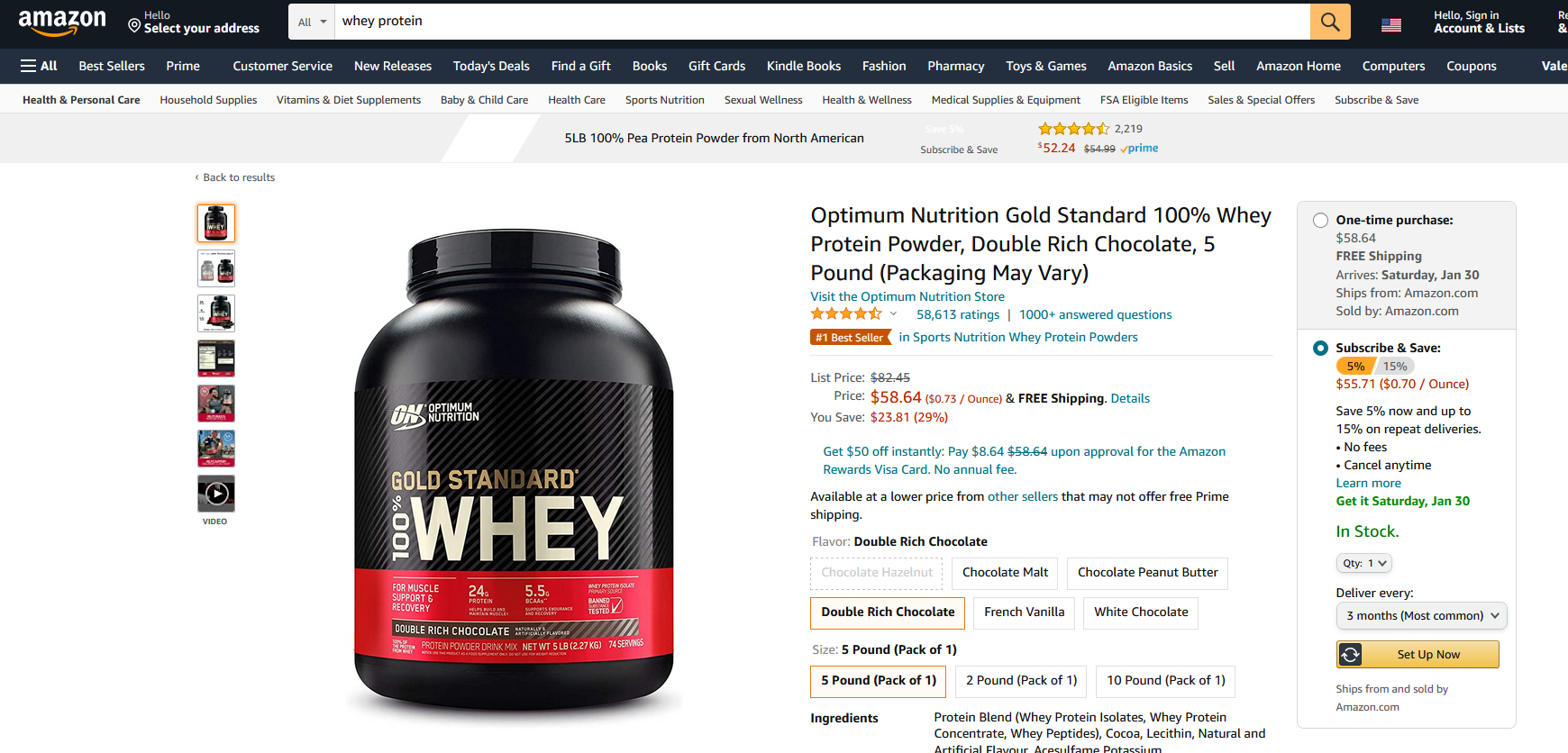 """screenshot of optimum nutrition whey protein on amazon. I'm using this screenshot to explain why google will choose to display this product page on the first page when someone searches for """"buy whey protein"""" instead of an article that talks about the pros and cons of protein."""